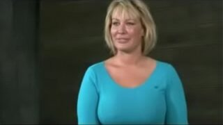 Big butt MILF chained to table and double fucked