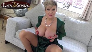 Big tit British mature Lady Sonia gets wet watching you stroke your cock