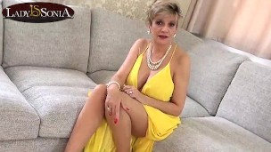Busty British MILF Lady Sonia is horny after her wild sex party