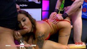 Heidi Van Horny busty Tattooed MILF in Extreme Bukkake