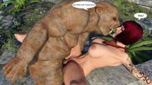 Pig Monster fucks busty 3D redhead MILF