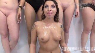 PremiumBukkake – Kattie Hill swallowing 52 huge cum loads in mouthful bukkake
