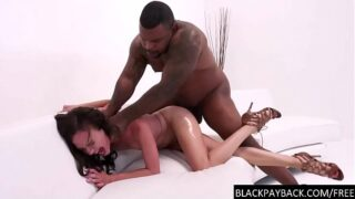 Struggling with BBC deep in her pussy
